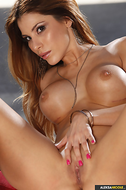 Aleksa Nicole gives a horny strip tease