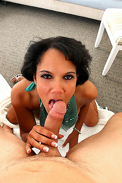Anjanette Astoria gets on her knees to worship his hard shaft