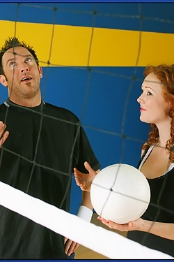 Audrey Hollander fucks the volleyball team captain in the gym