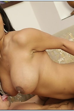 Allanah Li fucking her boyfriend's grown-up son on the couch
