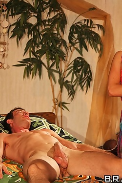 Angelina Armani uses her pussy to relieve him of his stress