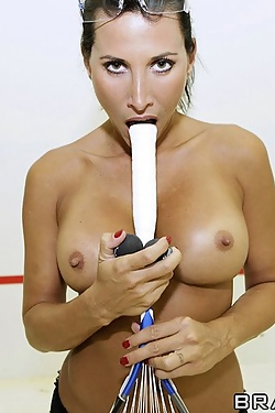 Lezley Zen gets pounded after playing squash