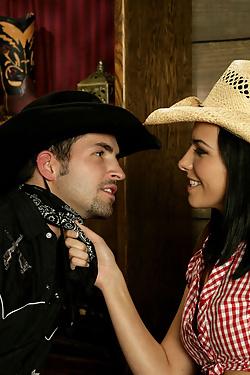 Danica Dillan fucking a cowboy in the saloon
