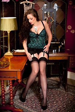 Sophia Delane seducing you in hot lingerie and sheer stockings