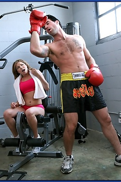 Amanda Blue fucking a boxer in the gym