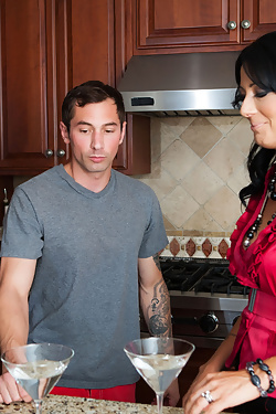 Zoey Holloway seduces one of her son's friends in the kitchen