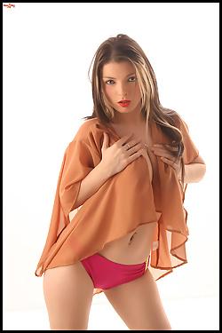 Abbie Montrose Big Breasted Blonde In Red Panties