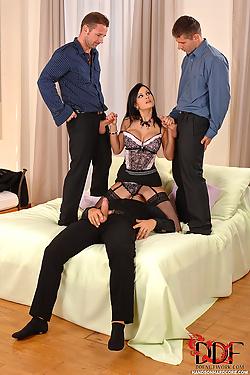 Hot boss lady Abbie Cat enjoys a payment bonus gang bang