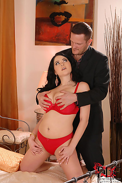 Busty beauty Shione Cooper rides herself a big hard cock