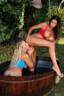 Busty bathing beauties frolicking in the great outdoors