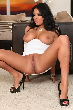 Anissa Kate models her tight white dress then strips from it showing off her all natural body