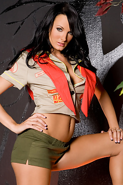 Alektra Blue is the den mother every boy wishes he had! See this hot scout master strip naked from her troop uniform and get wild and crazy with her gorgeous body by the campfire!
